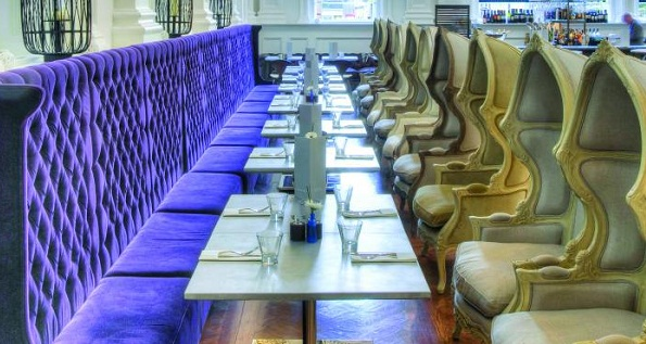 Throne-like seating in Tellers bar and brasserie