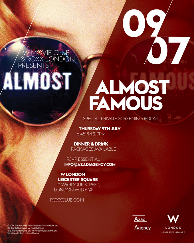 w london amp roxx presents almost famous private viewing at