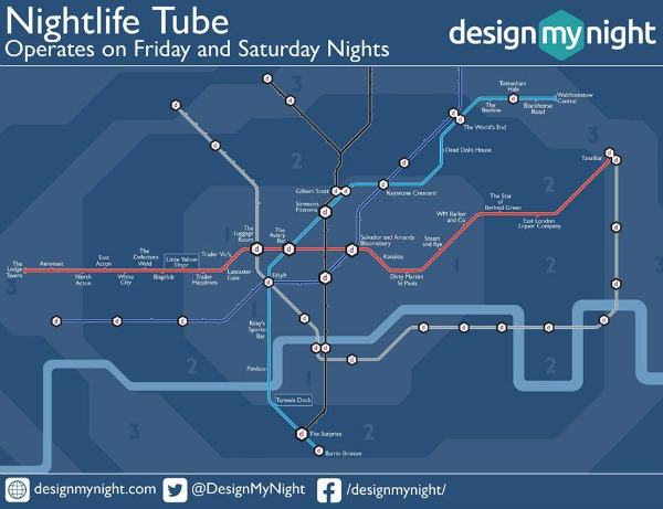 late night tube map for bars in london