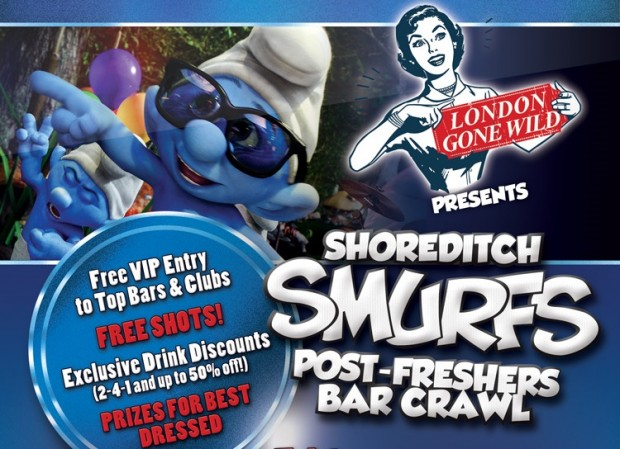 Smurfs Post-Freshers Bar Crawl