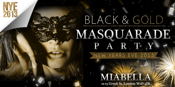 Black & Gold Masquerade Party Miabella London | DesignMyNight