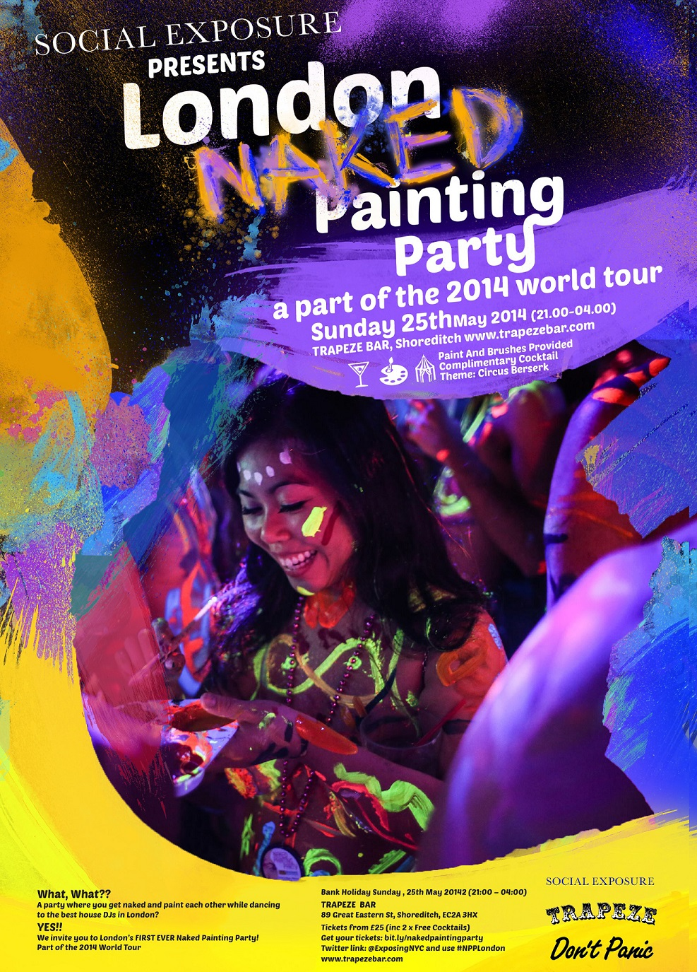 Trapeze Bar Shoreditch: The London NAKED Painting Party: Part Of The 2014 World