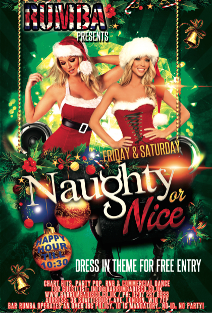 Christmas Naughty Or Nice Chart.Naughty Or Nice West End London Fun Time Partying Reviews