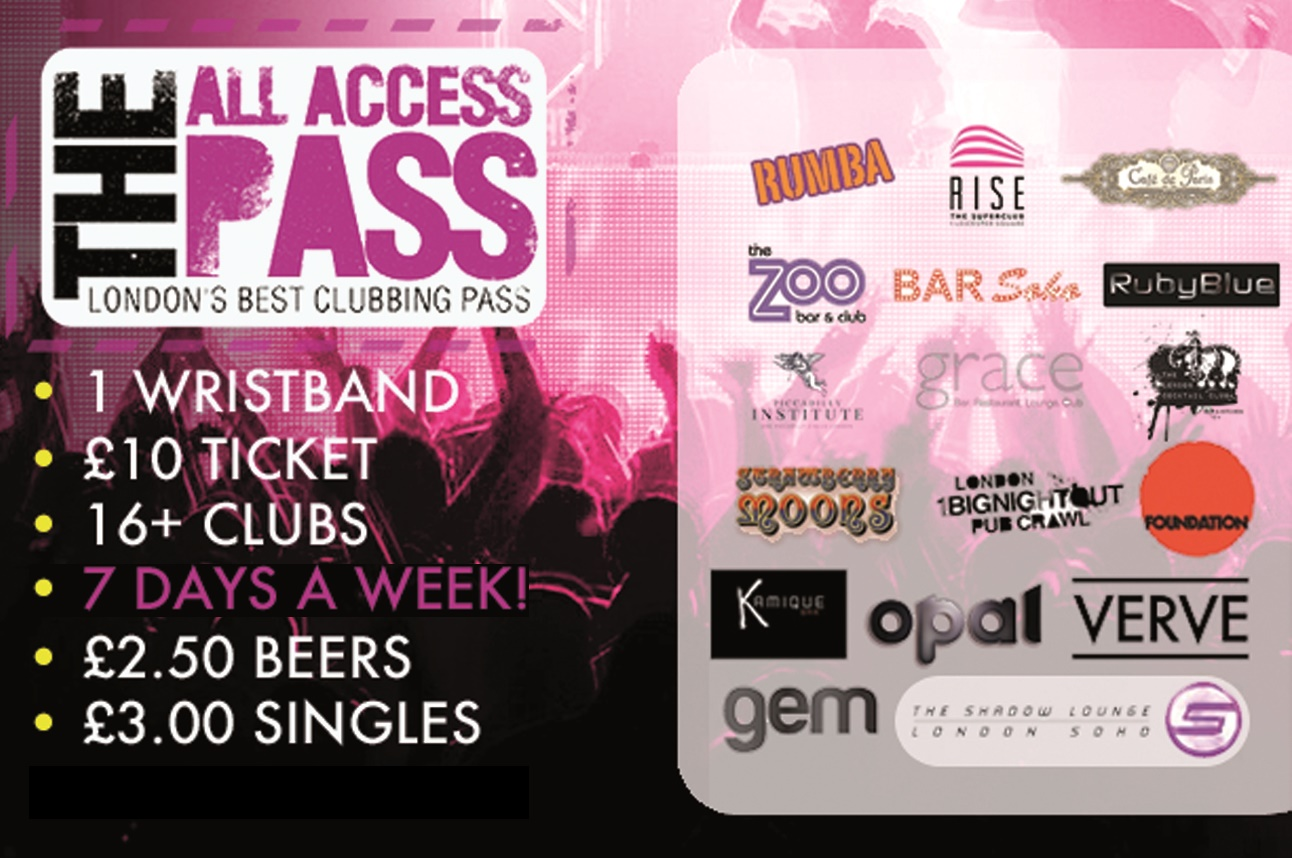 All Access Pass - Londons Best Nightlife Clubbing Pass