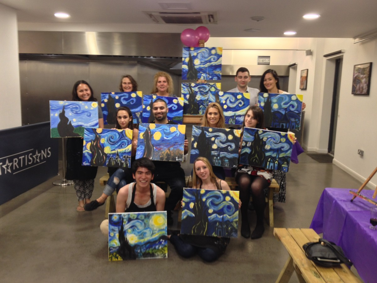 Paint van gogh 39 s starry night the old ship hammersmith for Paint night home parties
