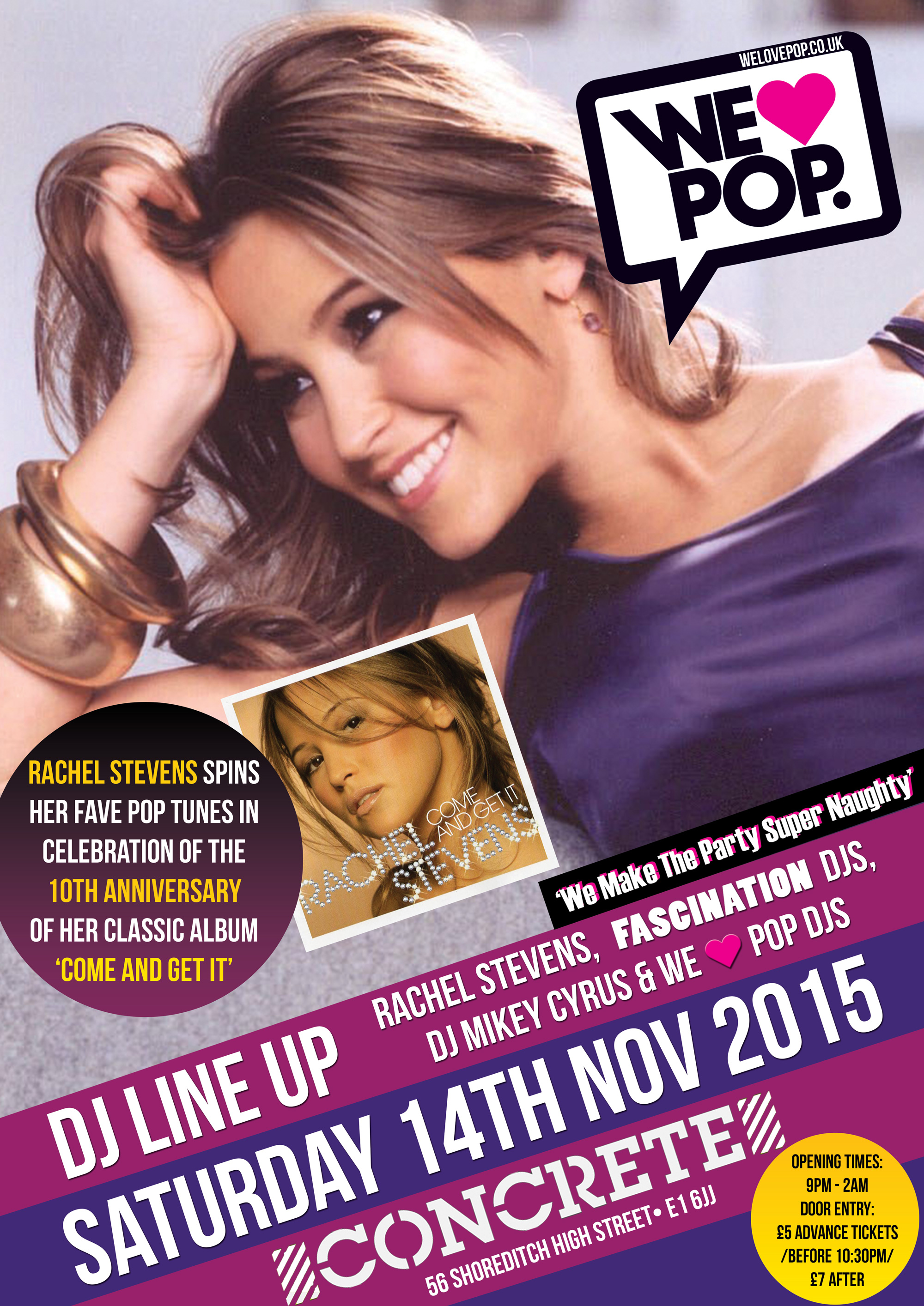 WELOVEPOP CLUB'S 'Come And Get It' Special with guest DJ RACHEL STEVENS