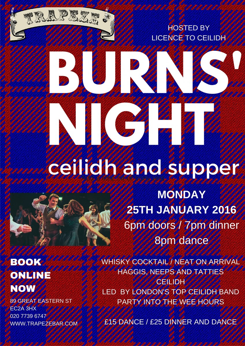 Trapeze Bar Shoreditch: Burns Night Extravaganza With Licence To Ceilidh Trapeze