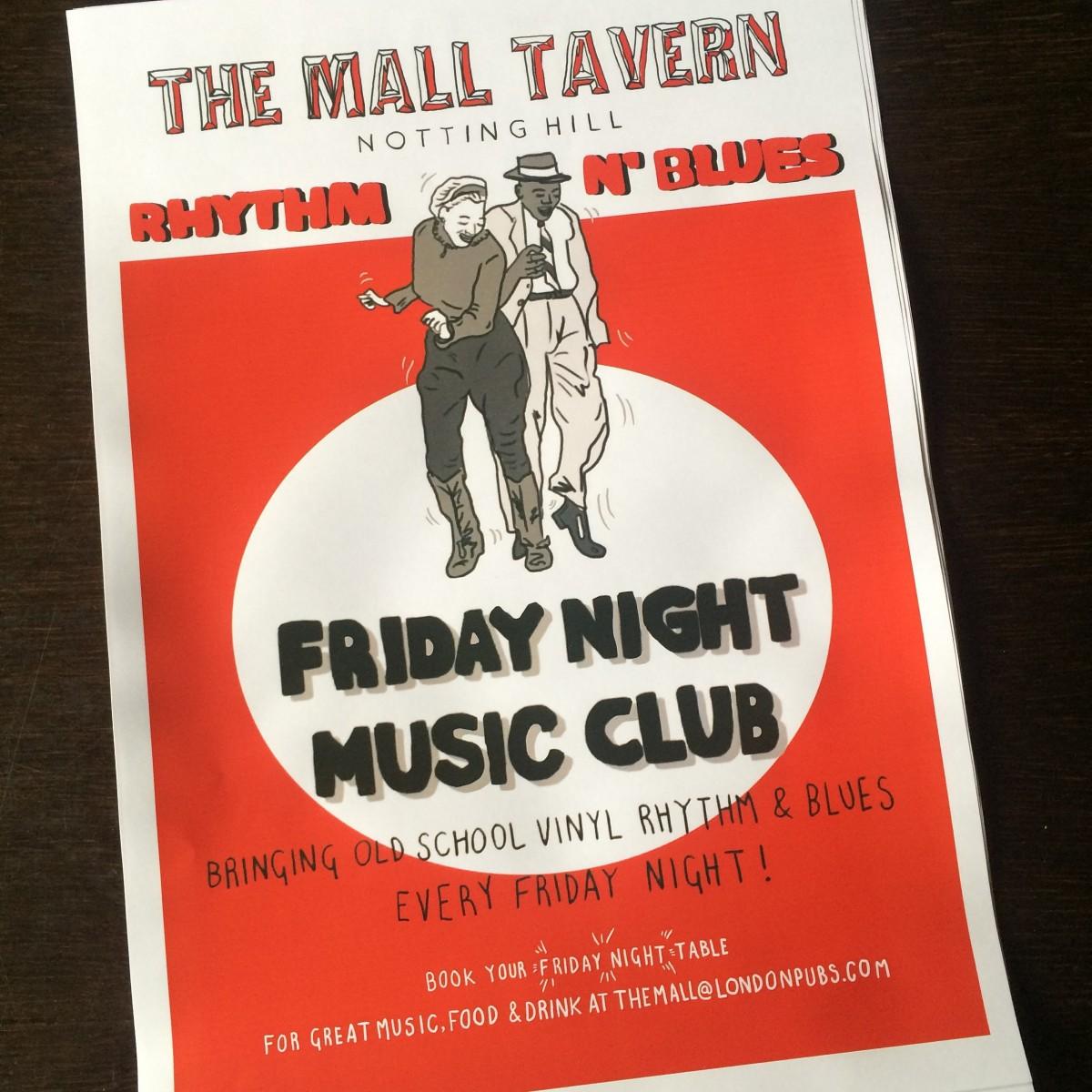 Friday night music club the mall tavern london designmynight for 71 73 palace gardens terrace notting hill london w8 4ru