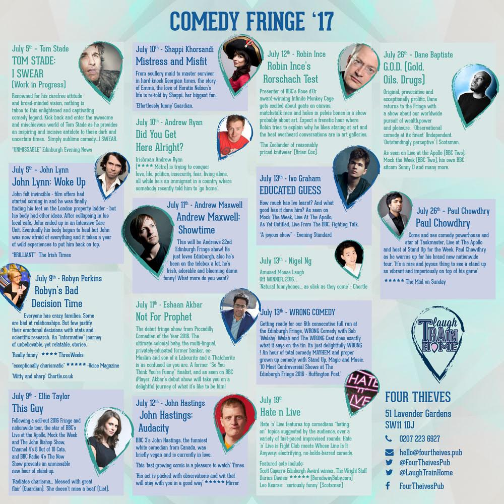 Four Thieves Fringe ft. Tom Stade, Andrew Maxwell, Simon Evans, Shappi Khorsandi and many more!