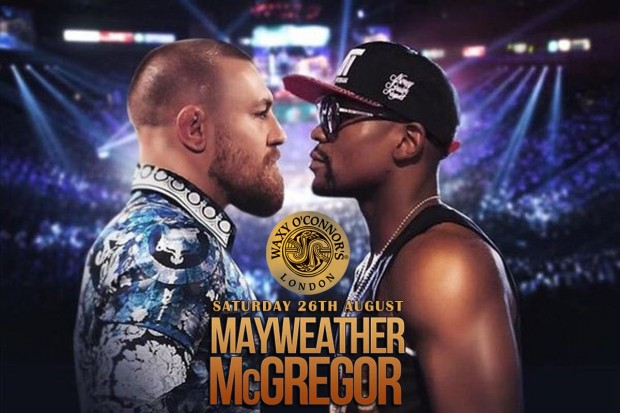 Watch Mayweather Vs McGregor fight live at Waxy's!