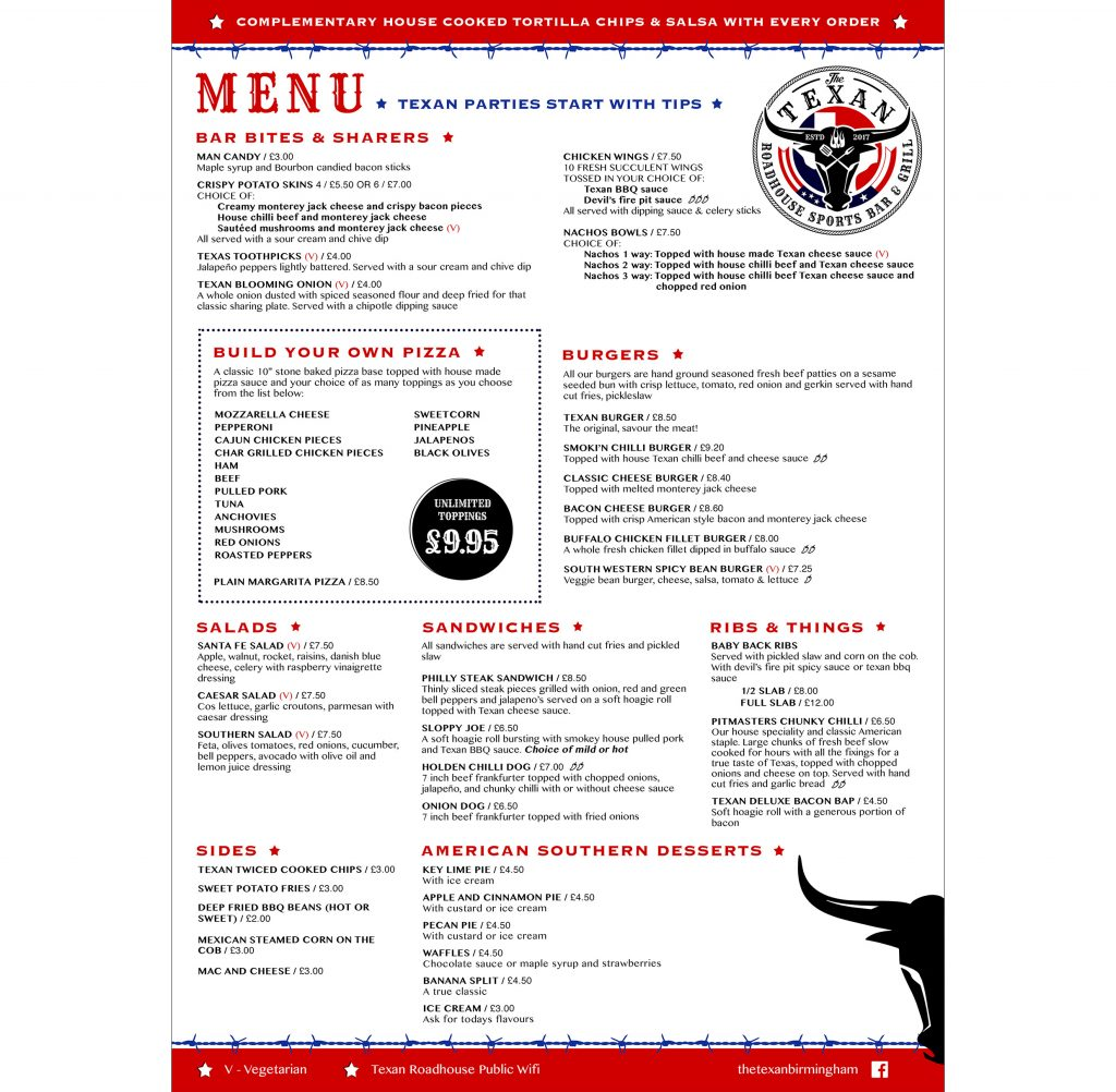 The texan roadhouse summer row birmingham restaurant bar for Food bar menu birmingham