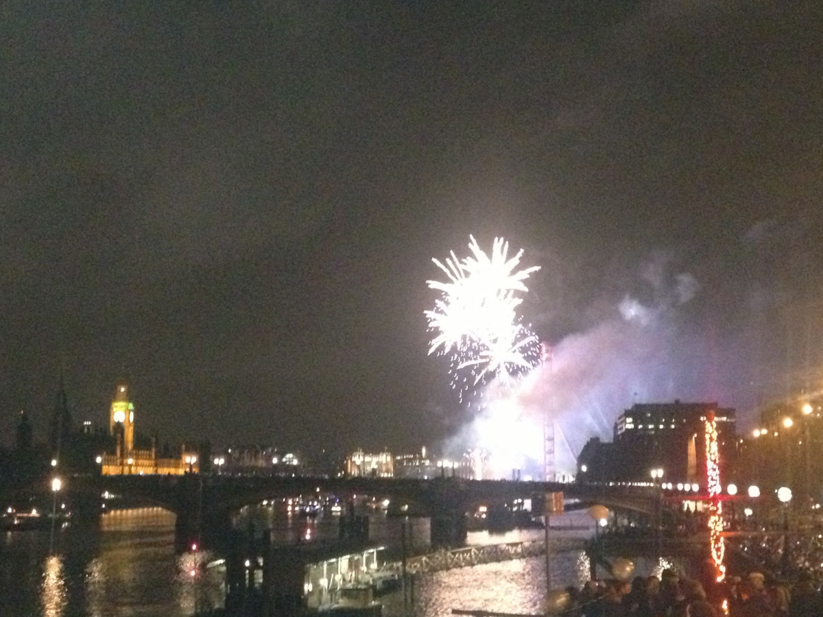 New Years Eve Boat Party- views of the Fireworks over the London Eye
