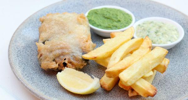 harvey nichols vegan fish and chips veganuary London