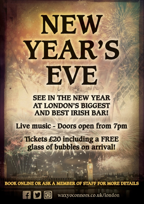 New Year's Eve at Waxy's! Live Band from 10pm