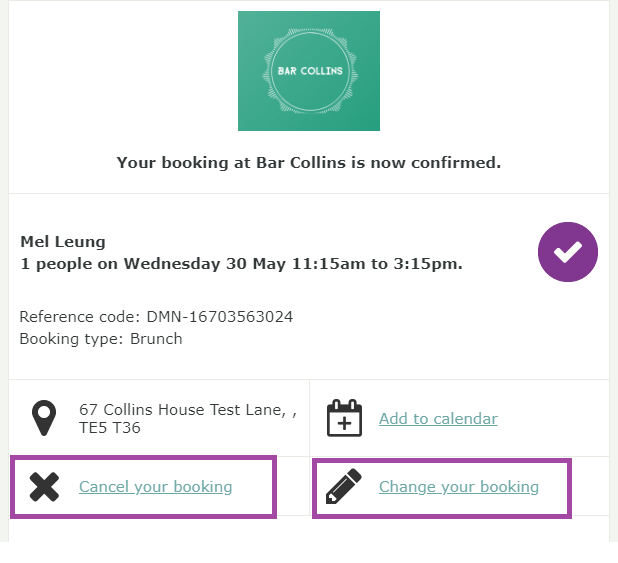 Cancellation and change booking icons
