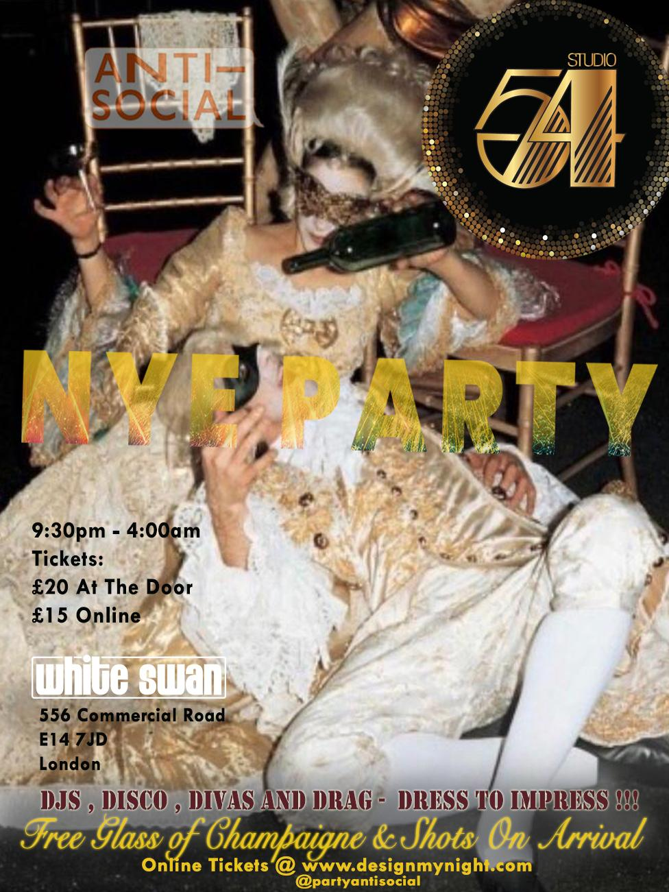 Anti Social New Years Eve studio 54 party