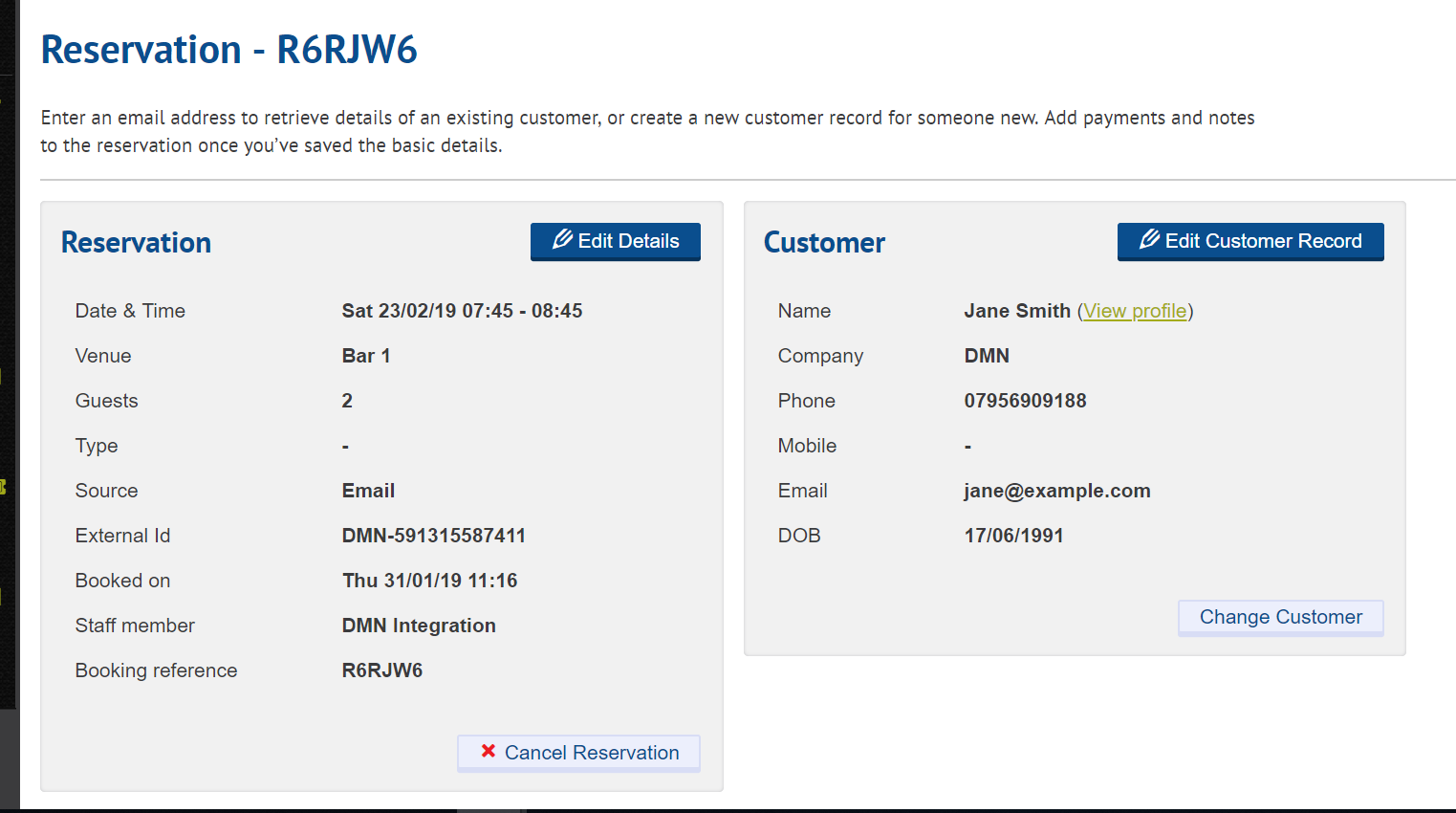 Example of the Customer Record on Kobas