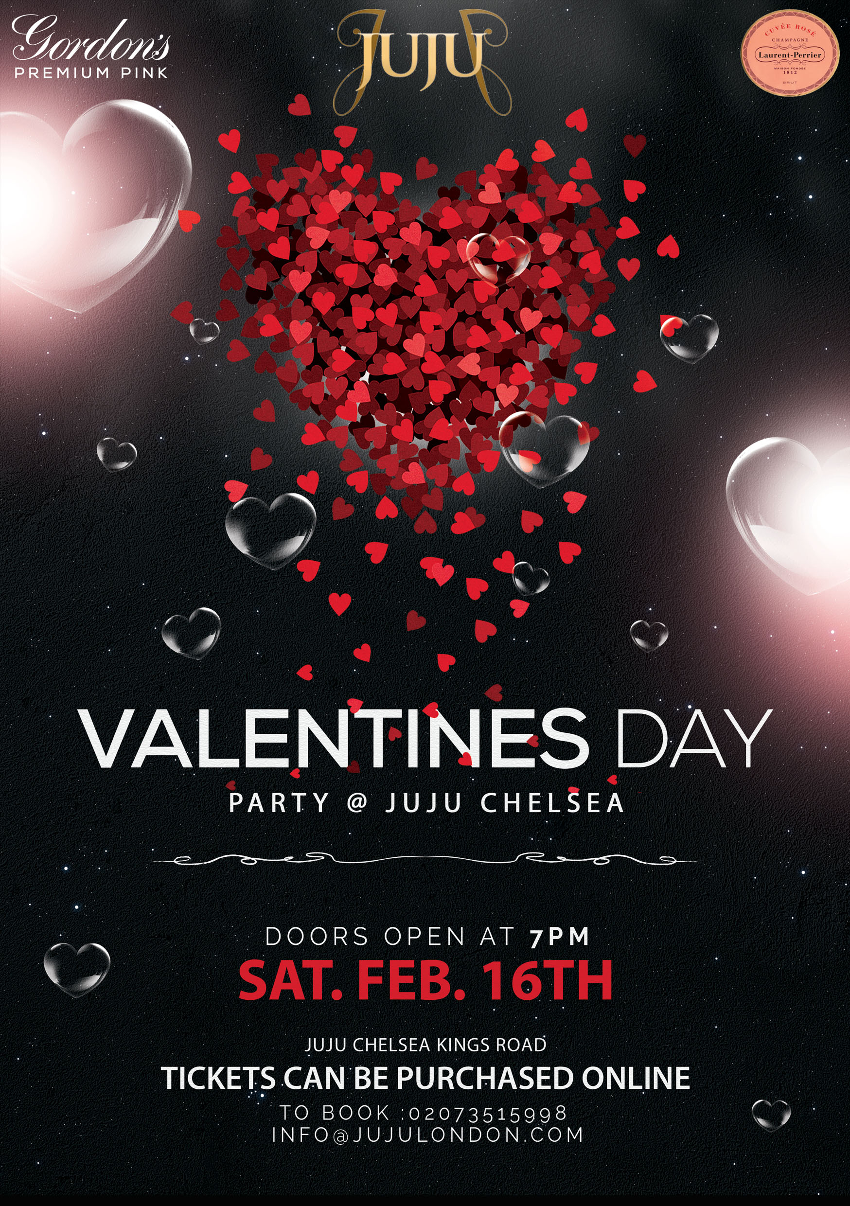 Valentines Day Party at JuJu Chelsea with Free Glass of LP Rose Champagne and Gordons Pink Gin Cocktail