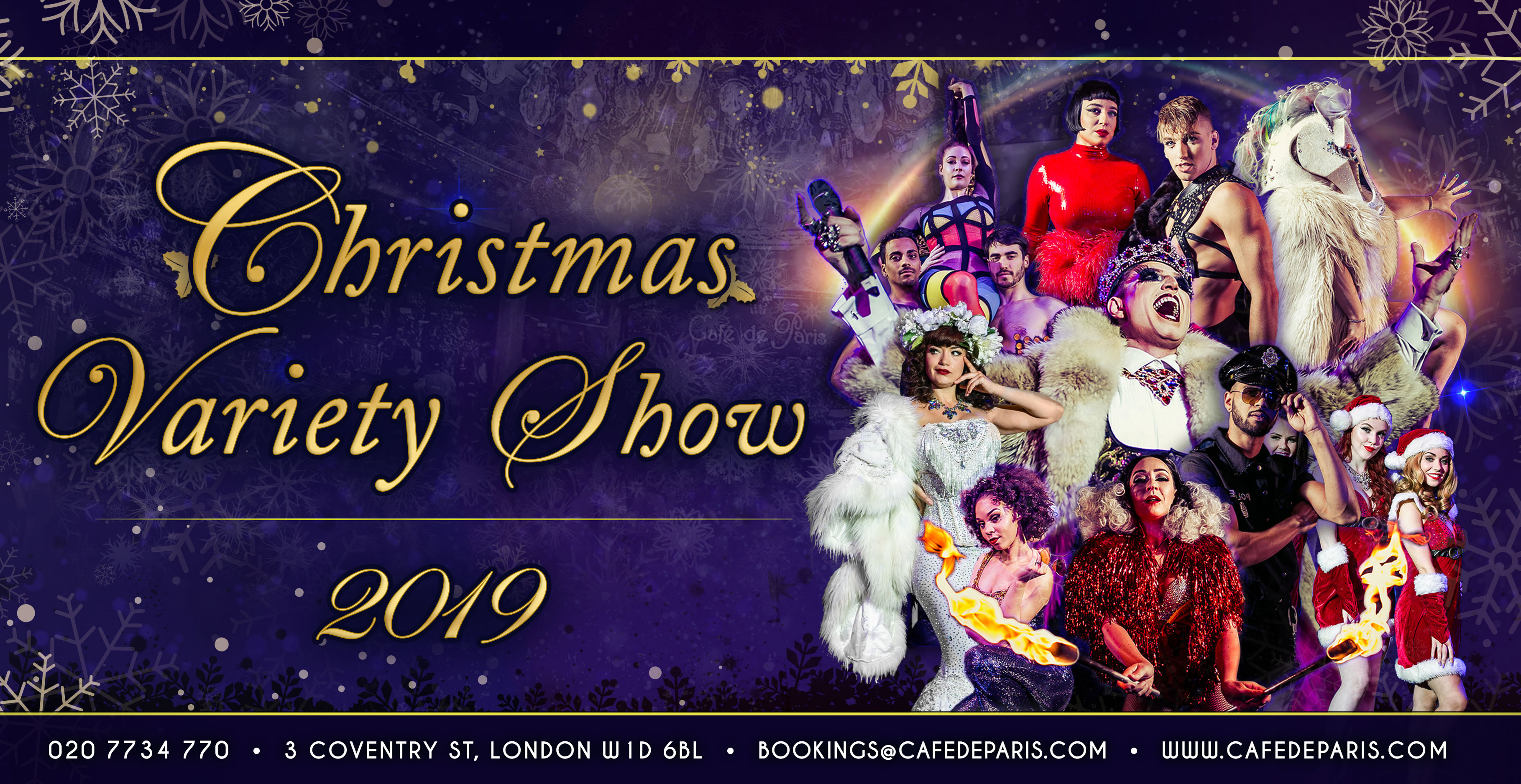 Cafe de Paris Christmas Variety Show Friday 29th November, Saturday 7th December & Saturday 21st December