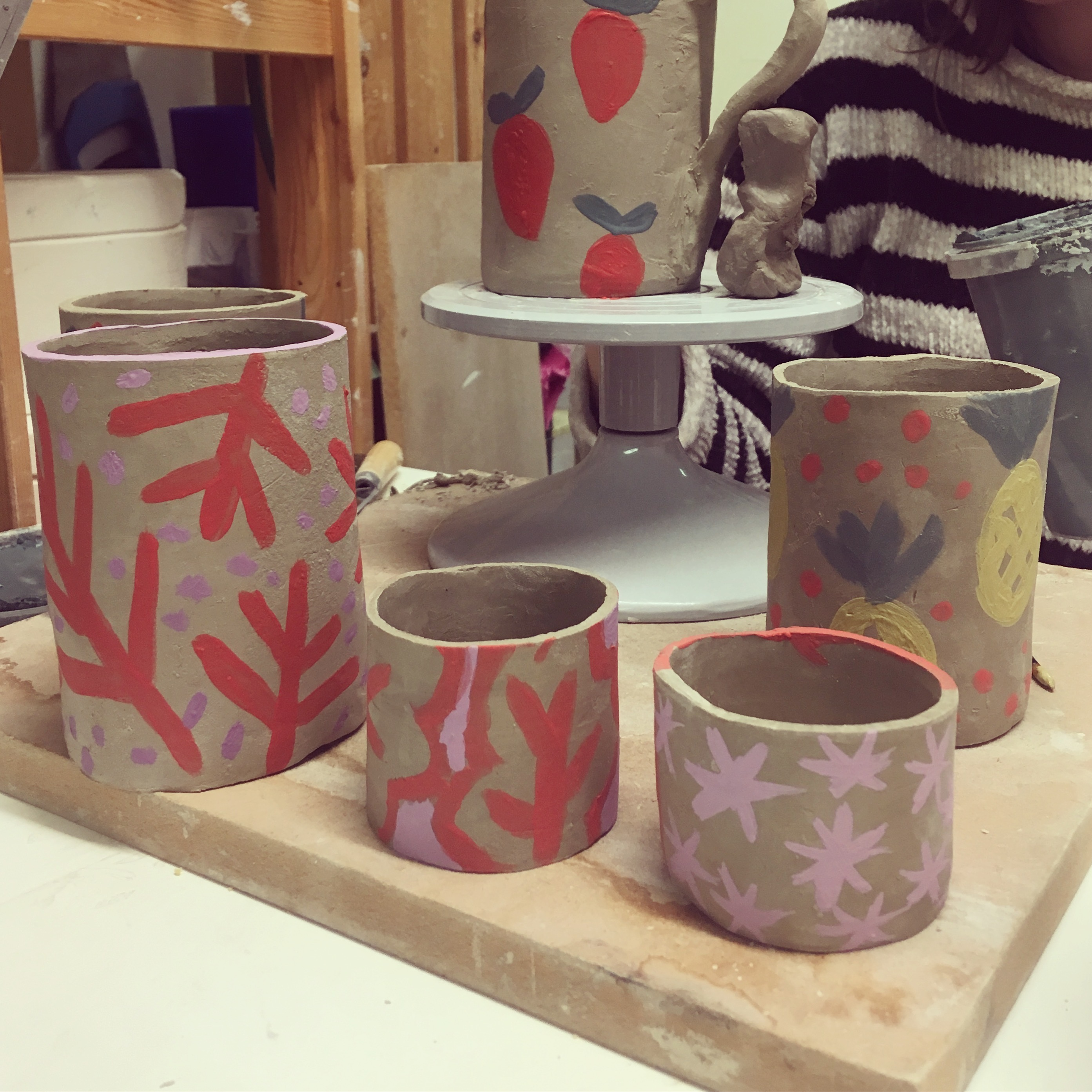 Pottery mug making in a craft beer bar