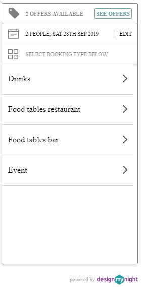 initial widget - selecting booking types