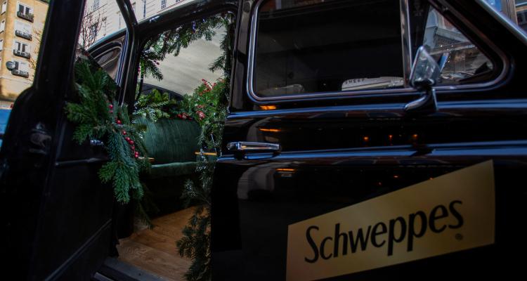 Schweppes black cab gin bar London