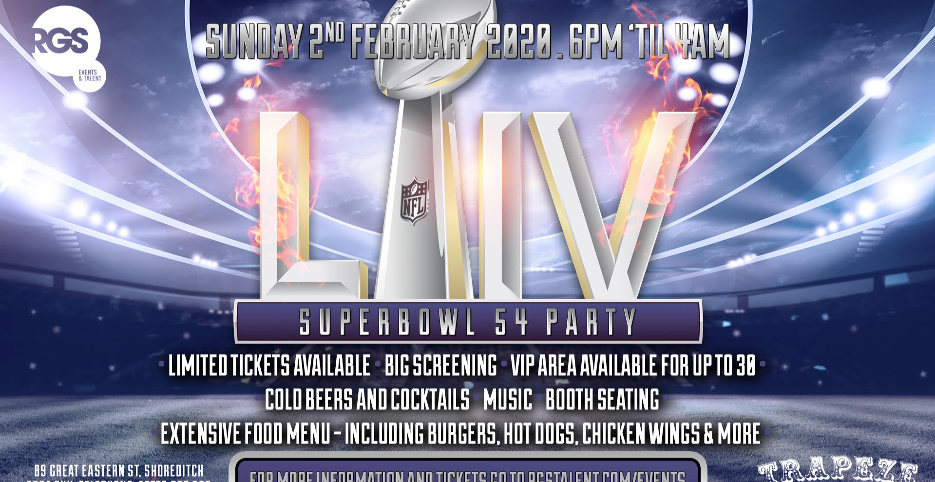 Superbowl 54 Big Screen Party in London