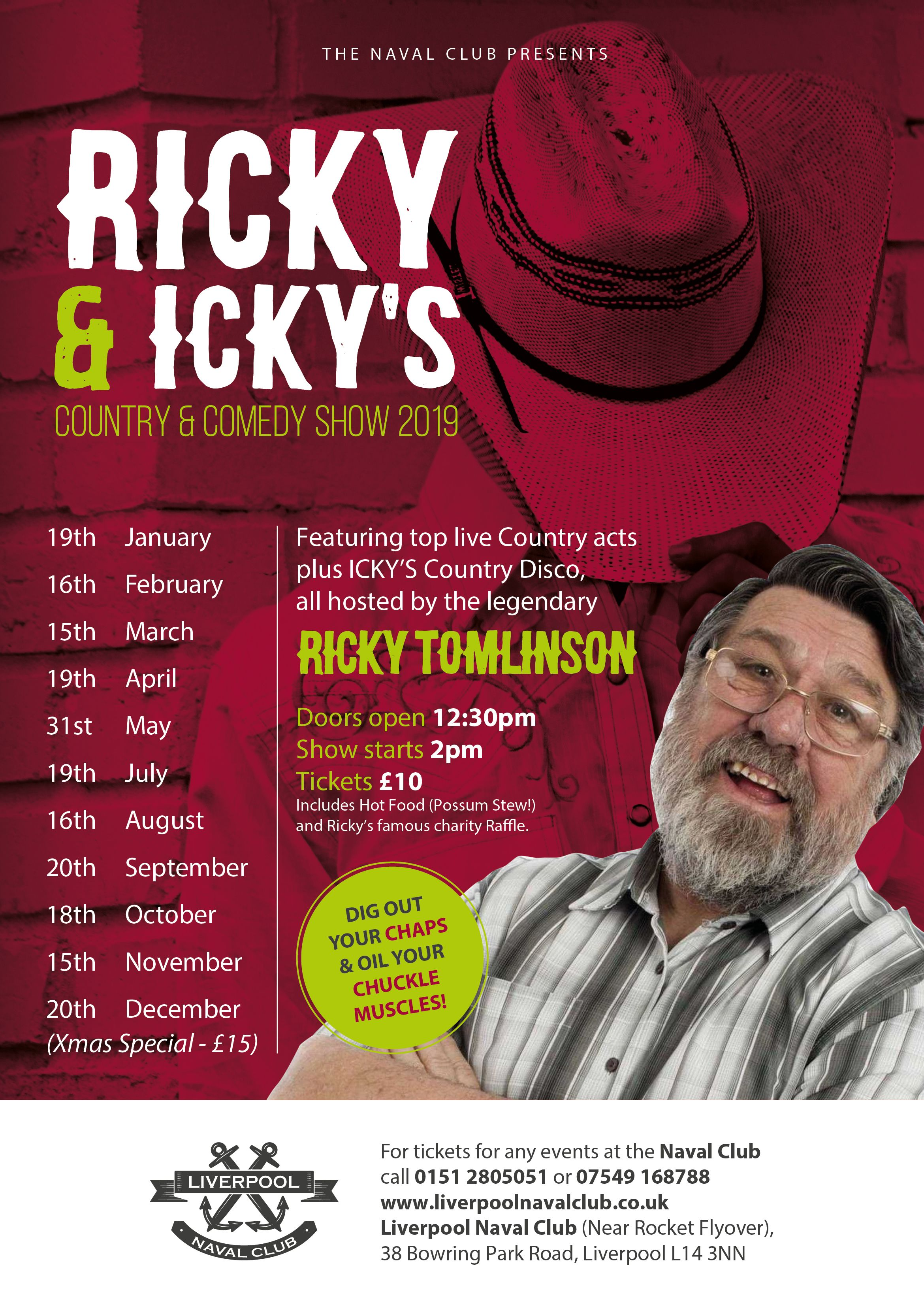 Ricky Tomlinson - Ricky & Icky's Monthly Country and Comedy Shows