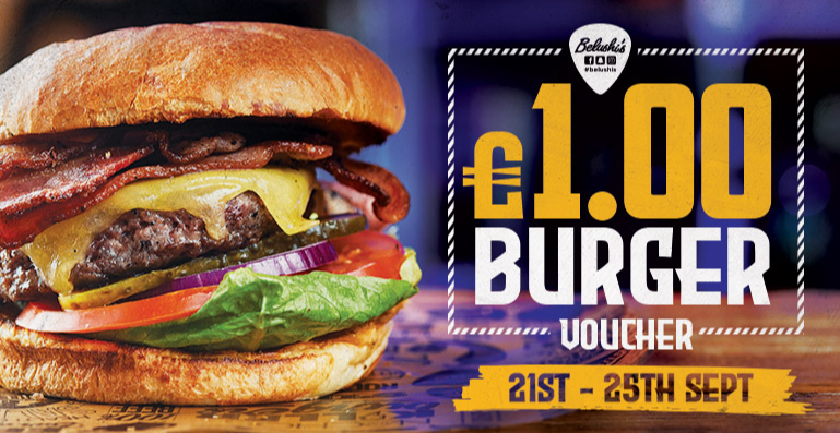 Students! £1 Belushis Burger