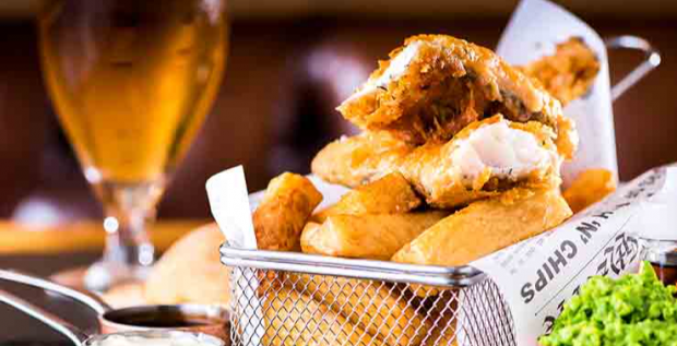 Traditional Fish & Chips And A Pint Or Glass Of Wine For One